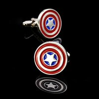 Wholesale ashion Mens Shirt Cufflinks Captain America Picture Glass Cabochon Cuff Links For Mens High Quality Mens Cufflinks Hot HOT