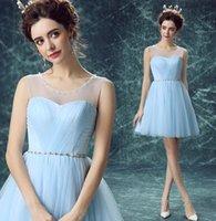 Wholesale New Arrival Hot Sale Fashion Elegant Luxury Princess Organza Royal Blue Engagement Crystal Banquet Toast Ball Bridal Bridesmaids Small Dress