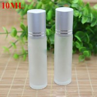Wholesale 10ml oz Thick Frost Glass Roll On Bottle Essential Oil Empty ml Scrub Aromatherapy Perfume Bottles metal Glass Roller Ball BY DHL Free