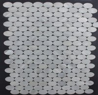 Wholesale Oyester White Oval Geometric Wall Mosaic Backsplash Tiles for Kithchen or Bathroom