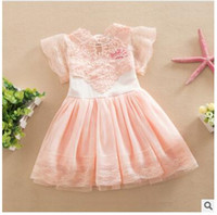Mid-Calf american girl christmas - Princess Girl Dress Summer Children Lace Flower Vestidos Para Ninas Kids Petal Sleeve Party Dresses For Girls DHL