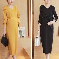 Wholesale Hot Selling Pregnant Women Dress Elegant Calf Length Maternity Dress Autumn Winter V Neck Pregnancy Clothes RA0228