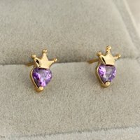 allergic baby - Lovery Mini Size Studs Crown Heart CZ Stud Earrings For Children Girls Baby Kids Jewelry Gifts Anti Allergic Earring Jewelry