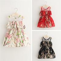 Wholesale News Girls Flower Dress Kids Clothing Summer Lace Tutu Dress Fashion Sleeveless Chiffon Princess Dress