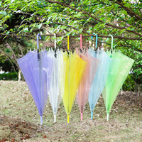 Wholesale Rain Transparent Umbrella for Women Kids Fashion Clear Pink Purple Yellow White Blue Green Hot Sale New