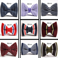 Wholesale New Arrive HOT Men Neck Knitted Bowtie Bow Tie mixed Color Pre Tied Adjustable Tuxedo Bowtie