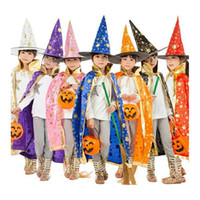 anime dress up girls - Boy Girl Kids Children Halloween Costumes Witch Wizard Cloak Gown Robe with Hat Cap Stars Fancy dress up Cosplay Chirstmas