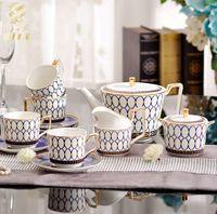 ashtray box - New Bone China Porcelain European Ceramic Coffee Cup Set Mug Tea Pot With Ashtray Drinkware Upscale Gift Packaging Box