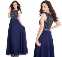 Wholesale Cheap Navy Blue Chiffon A Line Beading Prom Dresses Long Robe De Soiree Beaded Crystals Long Party Evening Gowns CPS417