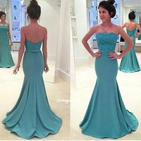 Wholesale 2017 New Elegant Mermaid Lace Prom Dresses Sexy Strapless Lace Top With Sash Button Covered Back Long Sweep Train Evening Dresses