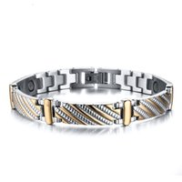 Wholesale Fashion New Men s Anion Vacuum Gold Plated High Quality Steel To Create Stainless Steel Germanium Stone Bracelet Jewelry