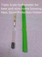 Wholesale Triple Scale hydrometer for beer and wine home brewing Brix Balling and potential alcohol Range