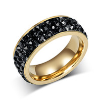 Wholesale Fashion Women Crystal Rings K Gold Plated Stainless Steel Wedding Rings For Women Party Jewelry R