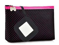 Place of Origin: Zhejiang, China beauty travel bag - 2017 Women Cosmetic Bag Rectangle shaped Dots pattern Portable Cute Multifunction Beauty Travel Cosmetic Bag Makeup Case