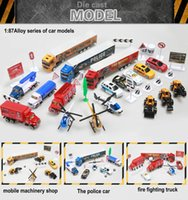 Wholesale Hot style Mini metal alloy auto car mold vehicle model police car Engineer fire truck children s toys high simulation