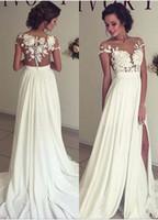 Wholesale New Arrival Lace Applique Off The Shoulder Plus Size Waist High Slit Chiffon Wedding Bride Dresses Gown W16
