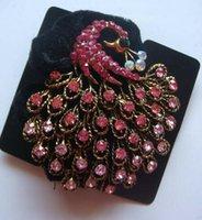 Wholesale Peacock Fashion Hair Scrunchies rhinestone Hair bands Hair Accessories mixed color