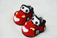 Wholesale Newborn Christmas Shoes Red Baby car Crochet Shoes Handmade Crochet Baby Shoes