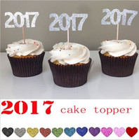 Wholesale Glitter gold silver quot quot number cupcake topper for New Year kids birthday wedding Party decoration cake accessories