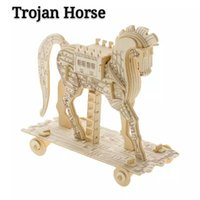 Wholesale Popular3D wooden puzzleTrojan HorseFashion DIYgiftpresent birthday gift for adult and children