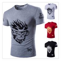 Crew Neck active monkeys - T shirts for Men Fashion O neck Monkey Printing Short sleeve Men s Sports Breathable Summer T shirts US Size XS L