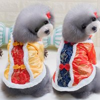 arrival pet outwear - New Arrival Chinese Tang Suit Dog Clothes Warm Thicken Outwear Pet Puppy Jacket Apparel Festival Dog Clothing Pet Costume JJ0220