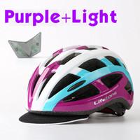 bicycle helmet foam - Men Cycling Helmet Outdoor Road Bicycle Bike Riding MTB Safety USB Visor Sport Rear Light Style Foam Blue Purple