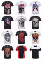 Wholesale 2017 Summer Sync Men S Fashion Brand PP Shirt Sleeve fighting TEE Men Casual Solid Color High Quality Skulls Sports Camisetas T Shirt XL