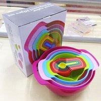 Wholesale Creative kitchen collection nano sieve baking cup bowl salad set rainbow piece DIY cuisine kitchen