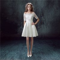 Wholesale Short Sleeved Ball Wedding Gowns - 2016 Winter New Lace Import Satin Long-sleeved Bride Toast Short Wedding Dress White Strapless Ball Gown