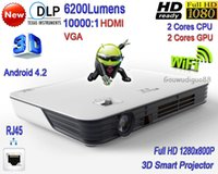 Wholesale 2016 New DLP High Brightness Lumens WiFi Business Projector Full HD P LAN D Smart LED Projector