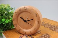 Wholesale freeshipping hot sale wood clock bedroom desk clock wood needle alarm clock handmade pastoral beech wood table clock