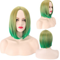 Wholesale 2017 new arrival BOBO short hair yellow green gradient color hair wigs for all face and skin