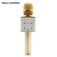 Wholesale Q7 Wireless Bluetooth Microphone Champagne Portable USB Karaoke Machine Player Super Bass for iphone For Outdoor KTVPk bm800