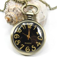 antique watch face necklace - buyer price good quality new fashion vine retro bronze round black face pocket watch necklace with chain
