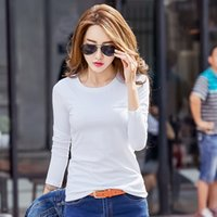 Wholesale or sale Fashion Women s student girls Spring O Neck cotton blend solid tops shirt Long Sleeve Mini T Shirt