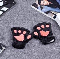 Precio de Guantes de manopla-Baratos de alta calidad de la venta al por mayor guantes de peluche mullidos Especial Paw Claw guante guantes de la mitad de guantes cubiertos manoplas regalo de San Valentín
