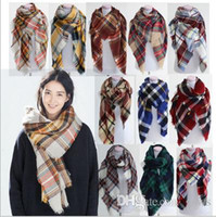 basic acrylic - 92 colors Winter New Tartan Scarf Plaid Blanket Scarf New Designer Unisex Acrylic Basic Shawls Women s Scarves Big Size CM