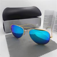 Revisiones Espejo de cristal clásico-Gafas de sol clásicas lente de cristal de alta calidad marco de metal de conducción espejo gafas de sol masculinas gafas de sol mujeres marca piloto con todos los casos