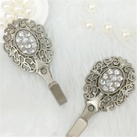 Wholesale Rhinestones Curtain Tie Back Wall Hooks Metal Tieback Holders Hat Coat Robe Hanger Accessories Home Decor