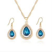Wholesale 18K Gold Plated Crystal Paved Created Ruby Emerald Sapphire Teardrop Dangle Earrings Chain Necklace Jewelry Sets for Women Gift