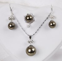 Wholesale South Sea Brown Shell Pearl Ring Earrings Pendant Necklace Set