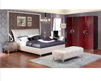 Wholesale designer modern real genuine leather bed soft bed double bed king size bedroom bed night stands stool door wardrobe