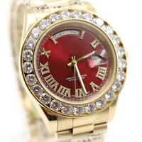 al por mayor los hombres rojos de los relojes de lujo-El envío libre mira a hombres de lujo del reloj del diamante de la cara roja de la fecha de lujo de los hombres de los hombres el reloj automático del AAA del zafiro 18K de la marca de fábrica original WristWatche mecánico