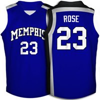 Wholesale 2017 New Memphis Tigers Mens Derrick Rose Blue College Football Basketball Throwback Jersey Free Drop Shipping Minging1225