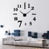 Wholesale 2017 Hot New Arrival Quartz Clocks Fashion Watches D Acrylic Real Big Wall Clock Rushed Mirror Sticker DIY Living Room Decor