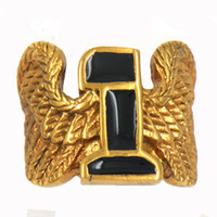 Wholesale Stainless steel punk vintage mens or womens jewelry golden plating wing black enamel number one biker Ring gift for brothers sisters