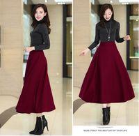 Wholesale 2017 New European Pure color Slim High Waist Umbrella Skirt comfortable Long Woolen