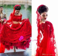 Wholesale Red lace lengha Indian bride in Mexico destination wedding Dresses with Sheer Bateau Neck Long Sleeves Two Pieces Bridal Gowns
