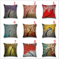 Wholesale 20 styles colorful tree of life cotton and linen cushion for leaning on pillow case Car waist cushion cover